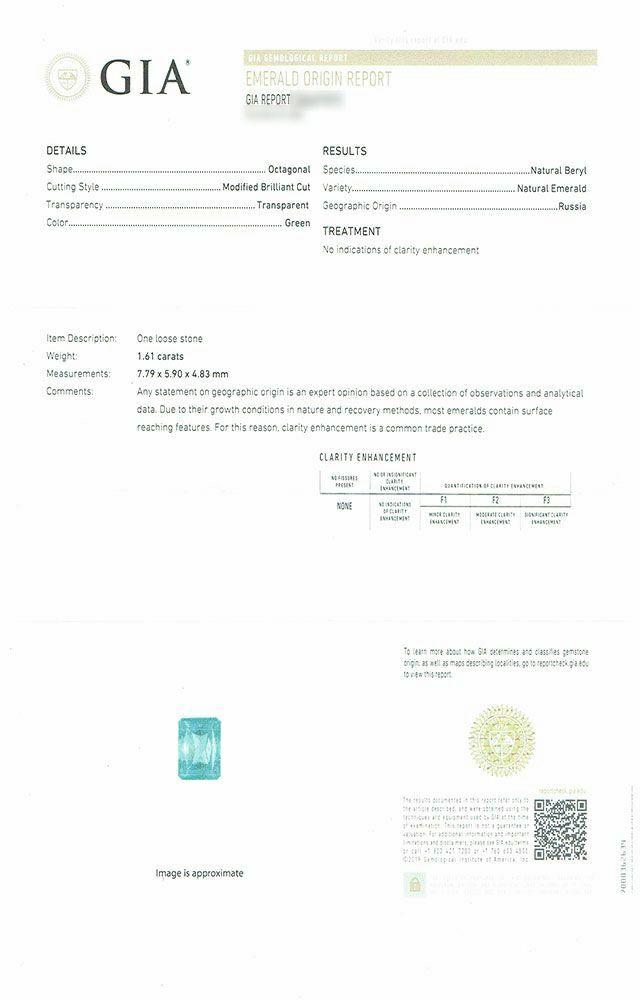 em3164 ロシア産エメラルドノンエンハンスメントラディアンカット1.61ct 中央宝石研究所宝石鑑別書