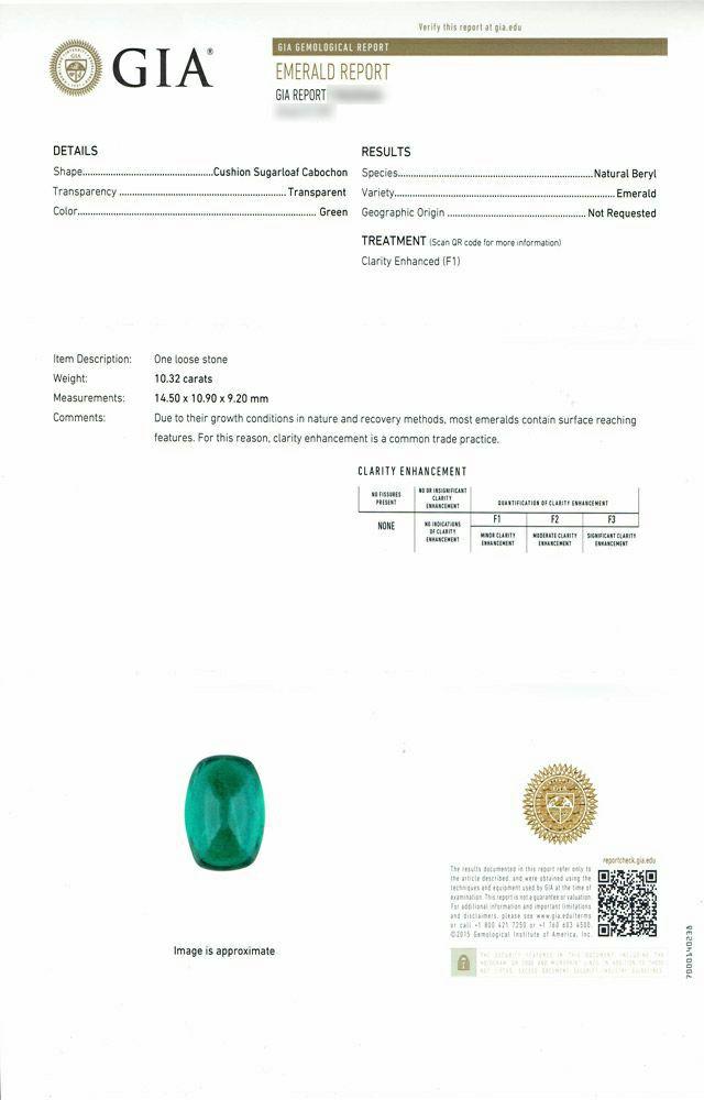 em7322 エメラルド エメラルドカボションカット10.32ctプラチナリングダイア6.37ct付 GIA USA宝石鑑別書