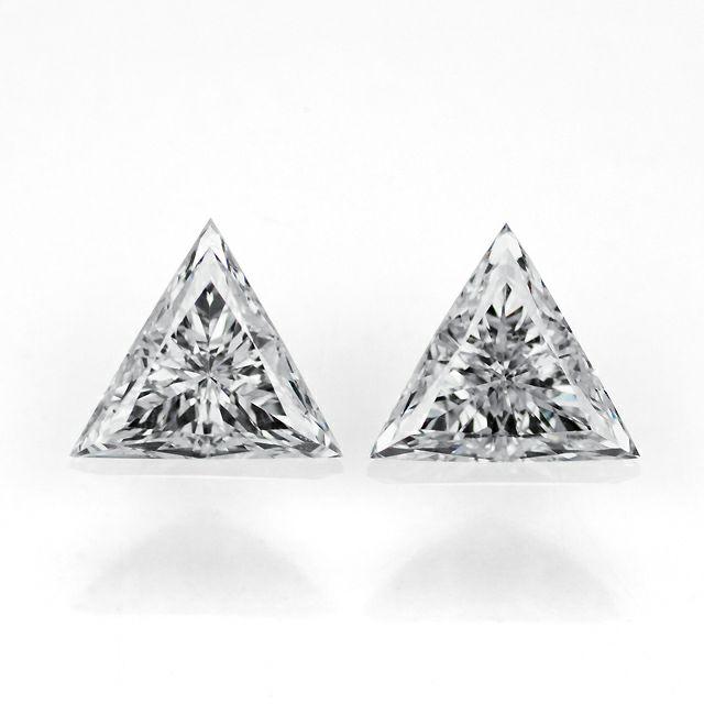 em2872 ダイヤモンドトリリアントカット0.355ct G SI-1 0.393ct G SI-1(中央宝石研究所ダイヤモンド鑑定ソーティング付)