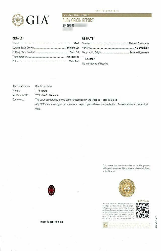 em7441 ミャンマー産非加熱ピジョンブラッドルビー1.36ctプラチナリングダイア0.306ct 0.303ct 0.409ct付(GIA USAミャンマー産非加熱ピジョンブラッドルビー宝石鑑別書付)