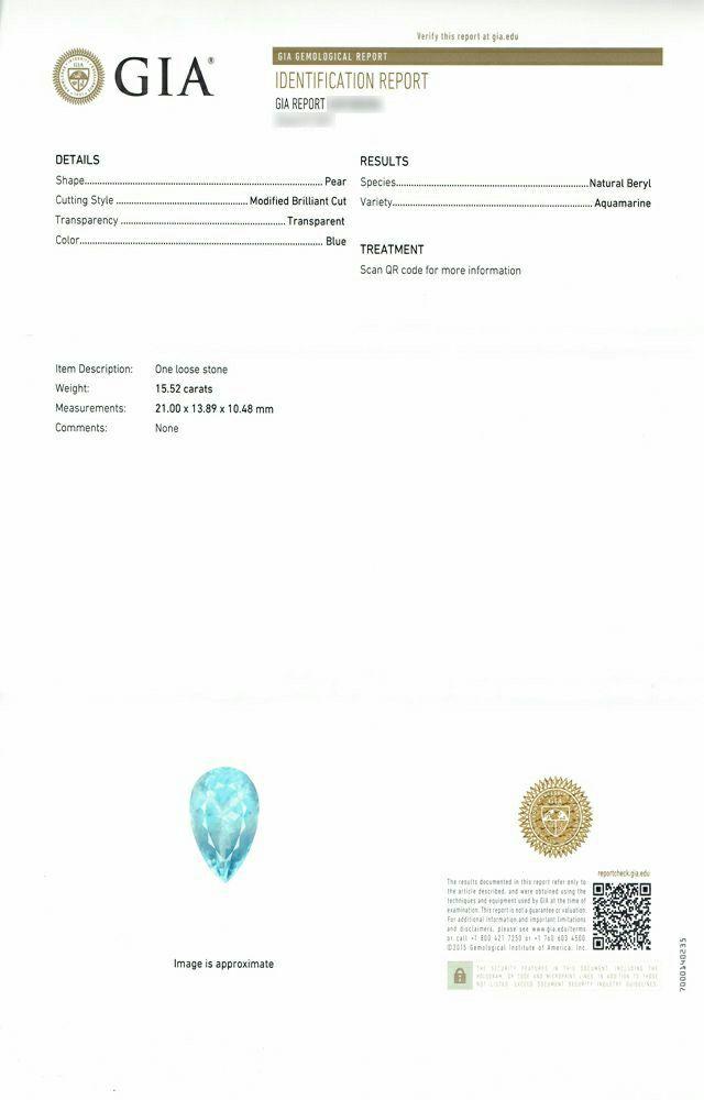 em2973 サンタマリアアフリカーナアクアマリンペアシェイプカット15.52ct(GIA USA 宝石鑑別書付)