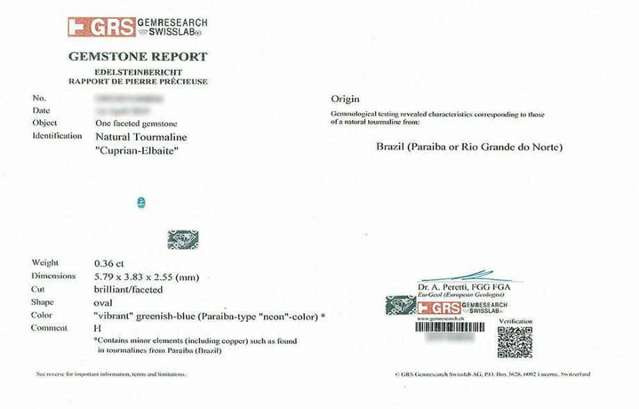 ブラジル産パライバトルマリン0.36ctオーバルカットプラチナリングダイア0.75ct付き (GEM RESEARCH SWISSLAB宝石鑑別書付)