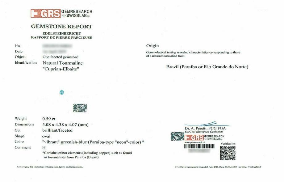 ブラジル産パライバトルマリン0.59ctオーバルーカットプラチナリングダイア0.75ct付 (GEM RESEARCH SWISSLAB宝石鑑別書付)