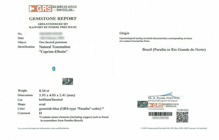 ブラジル産パライバトルマリン0.36ctオーバルカットプラチナリングダイア0.28ct付(GEM RESEARCH SWISSLAB宝石鑑別書付)