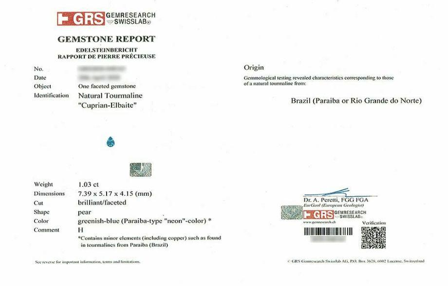em3653 ブラジル産パライバトルマリンペアシェイプカット1.03ctプラチナリング1.30ctダイア付(GEM RESEARCH SWISSLAB宝石鑑別書付)