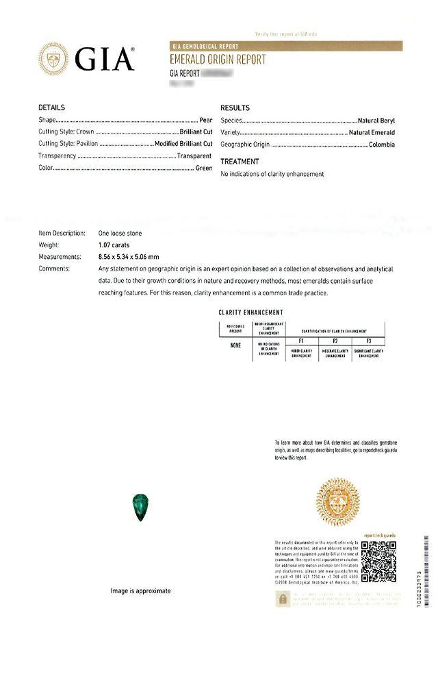 em3758 コロンビア産エメラルドノンエンハンスメントペアシェイプカット1.07ct(GIA USAノンエンハンスメント宝石鑑別書付)