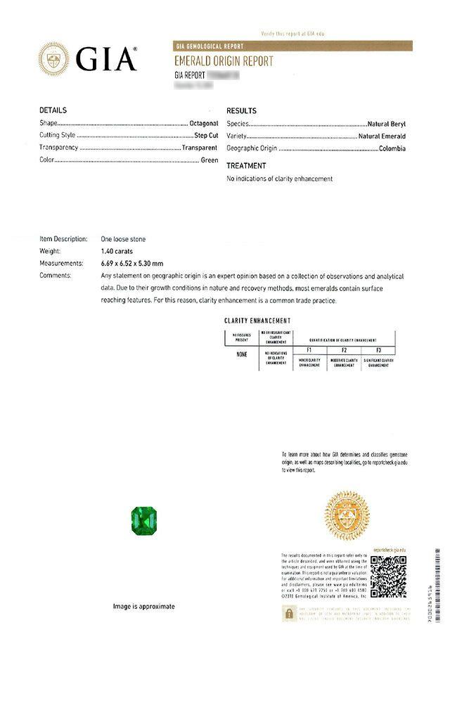 em3760 コロンビア産エメラルドノンエンハンスメントエメラルドカット1.40ct(GIA USAノンエンハンスメント宝石鑑別書付)