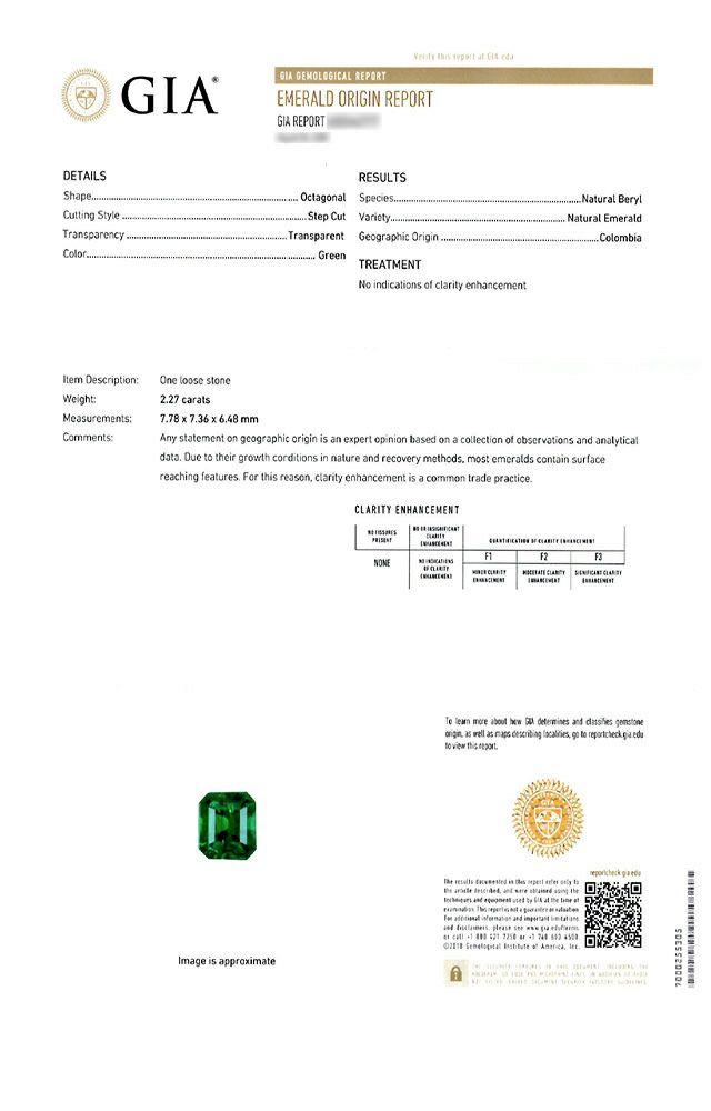 em3761 コロンビア産エメラルドノンエンハンスメントエメラルドカット2.27ct(GIA USAノンエンハンスメント宝石鑑別書付)